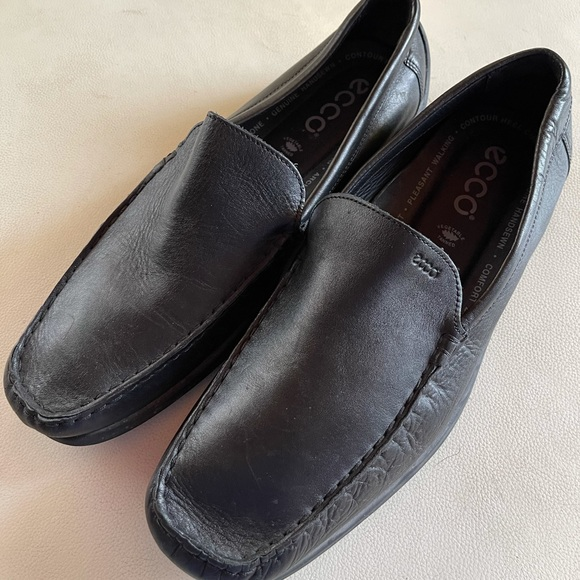 Ecco Black Leather Loafer Pleasant Walking Size 44